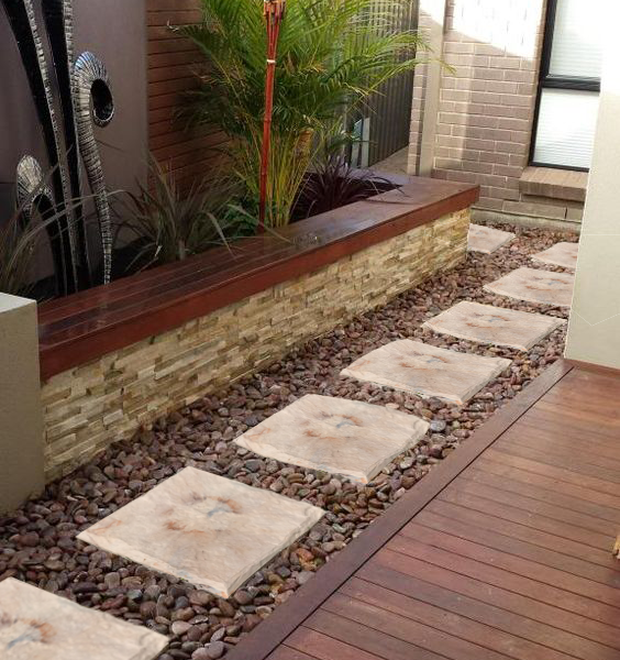 Decorative Garden Stones >> Large Portable Stepping Stones for garden (6 Pack) Strong and High Quality Plastic Resin Stones ...